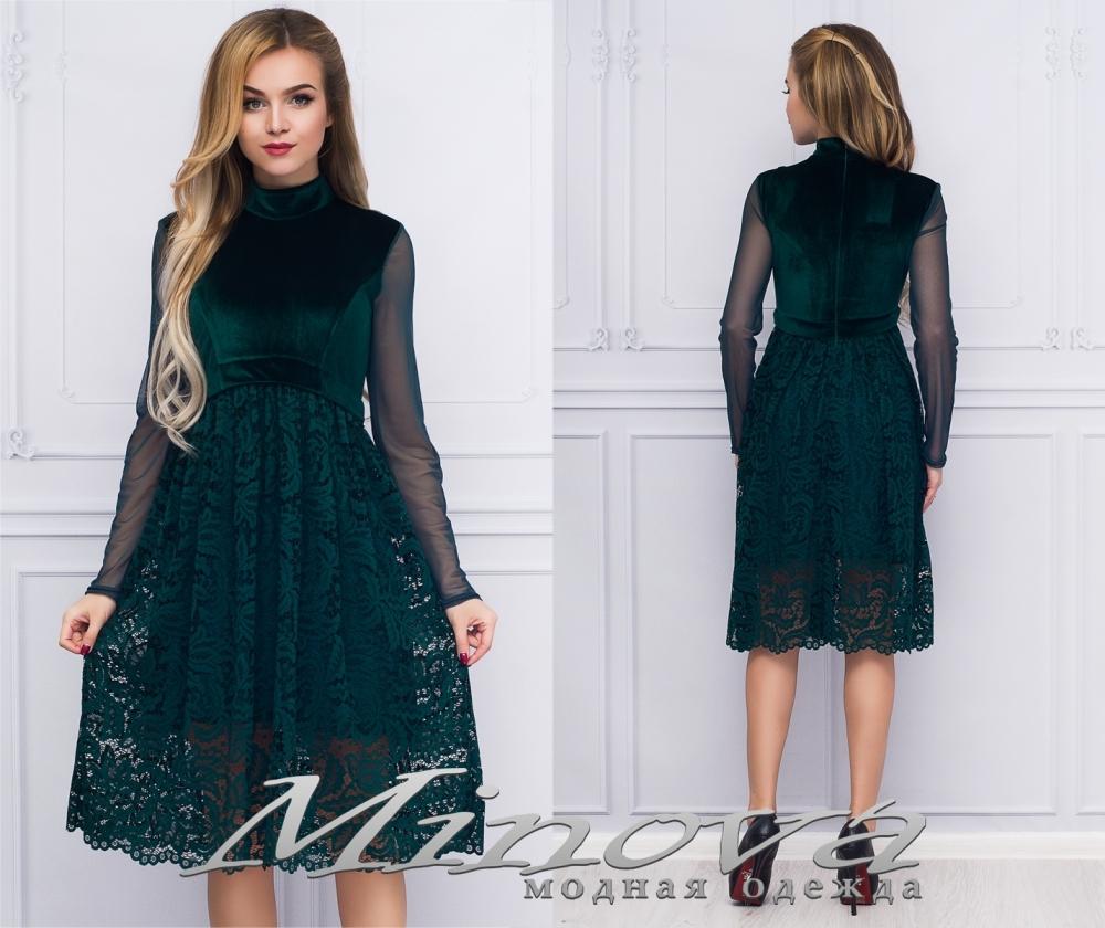 Платье №1063 (т.зеленый) (sale)