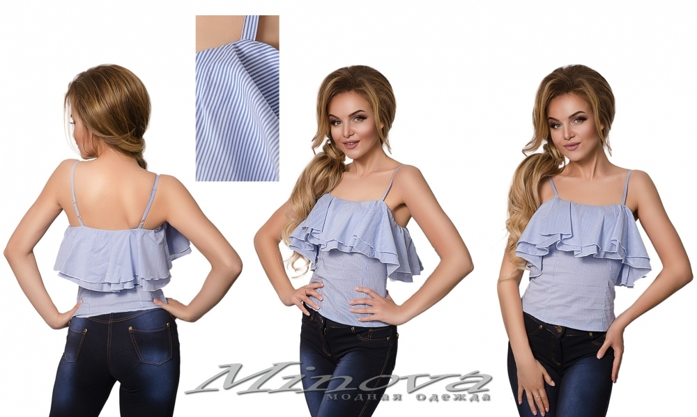 Блуза №1035 (голубая полоса) (sale)