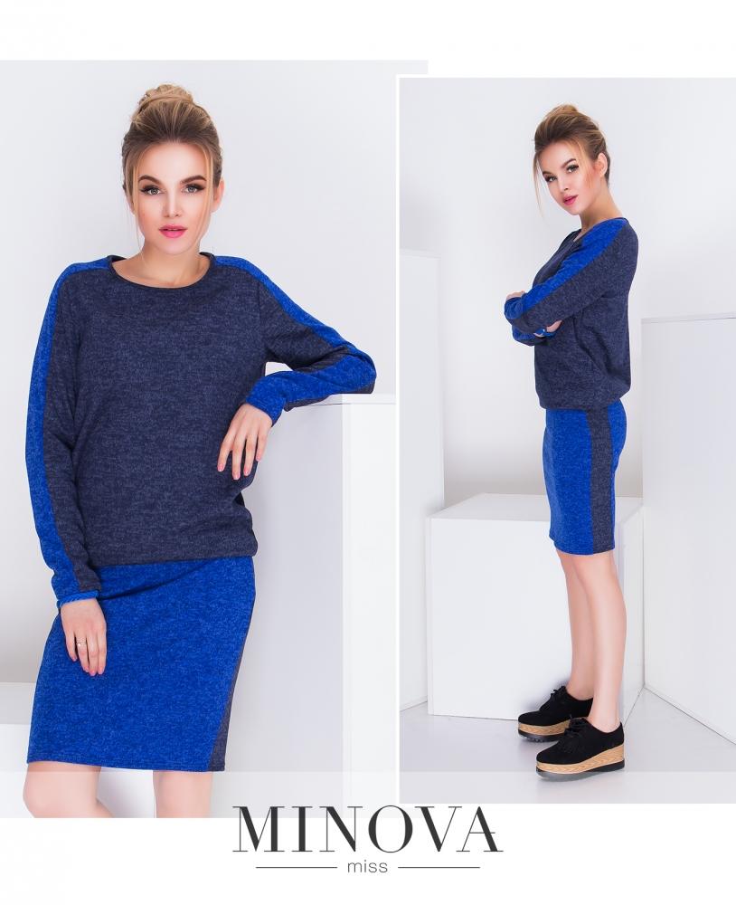Платье №1337н-синий