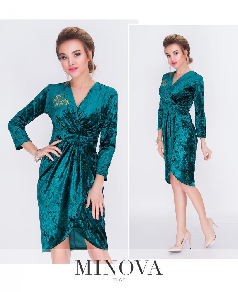 Платье №1517н-темно-зеленый