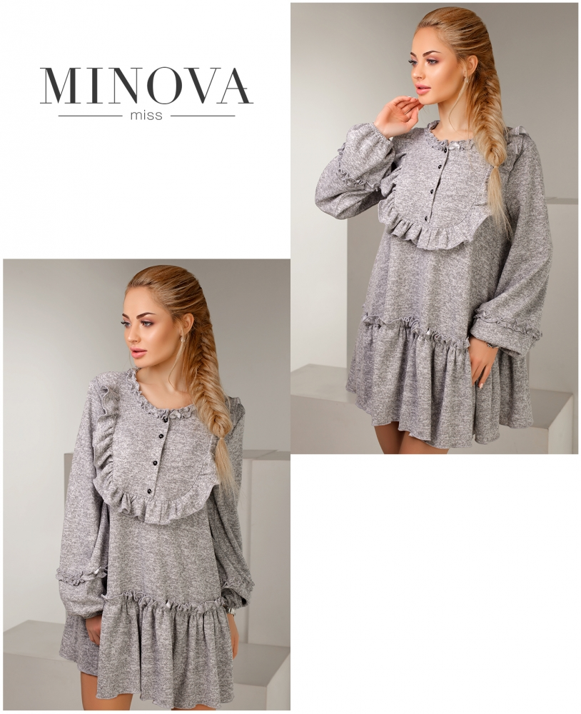 Платье №1126-серый