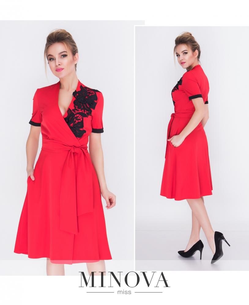 Платье №1215-красный (sale)