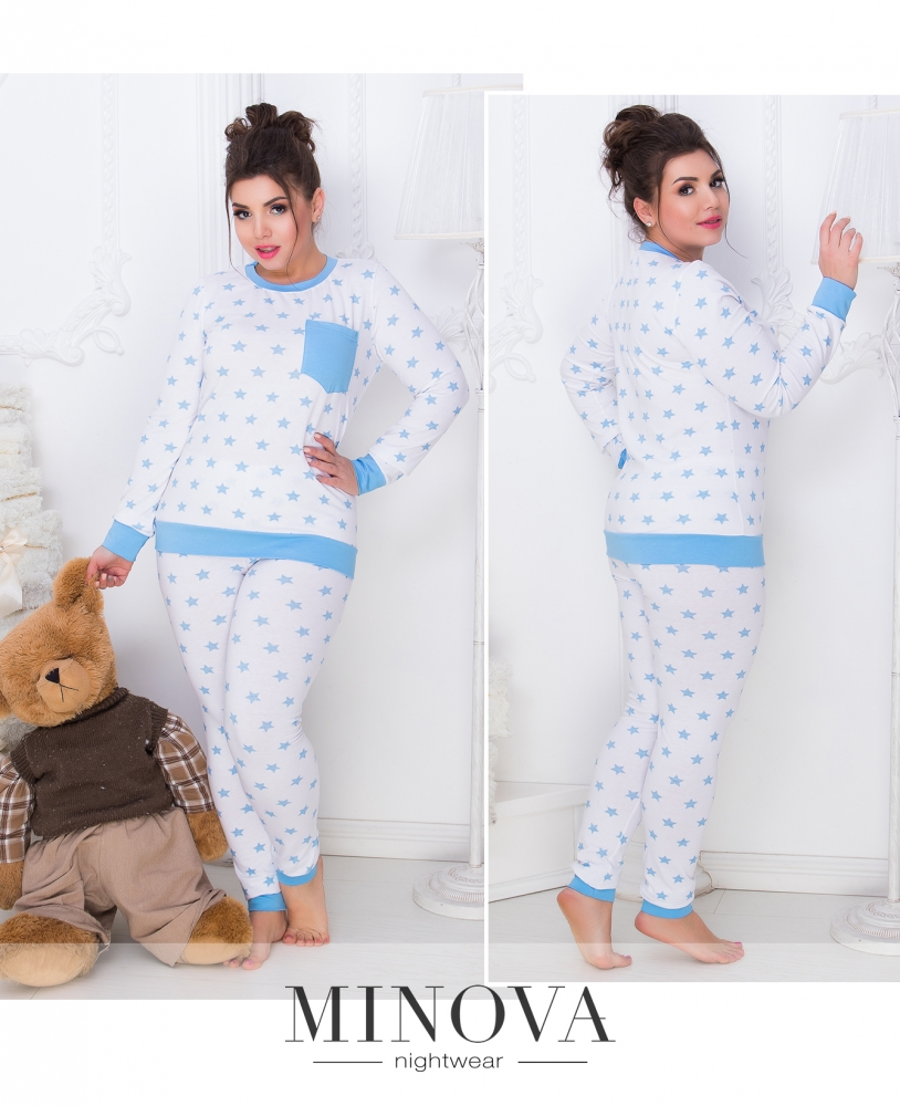Пижама №809б-голубой-белый