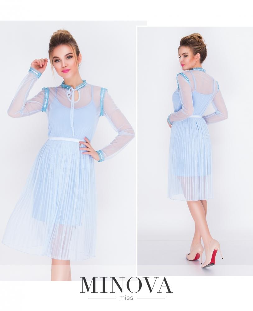 Платье №205-голубой