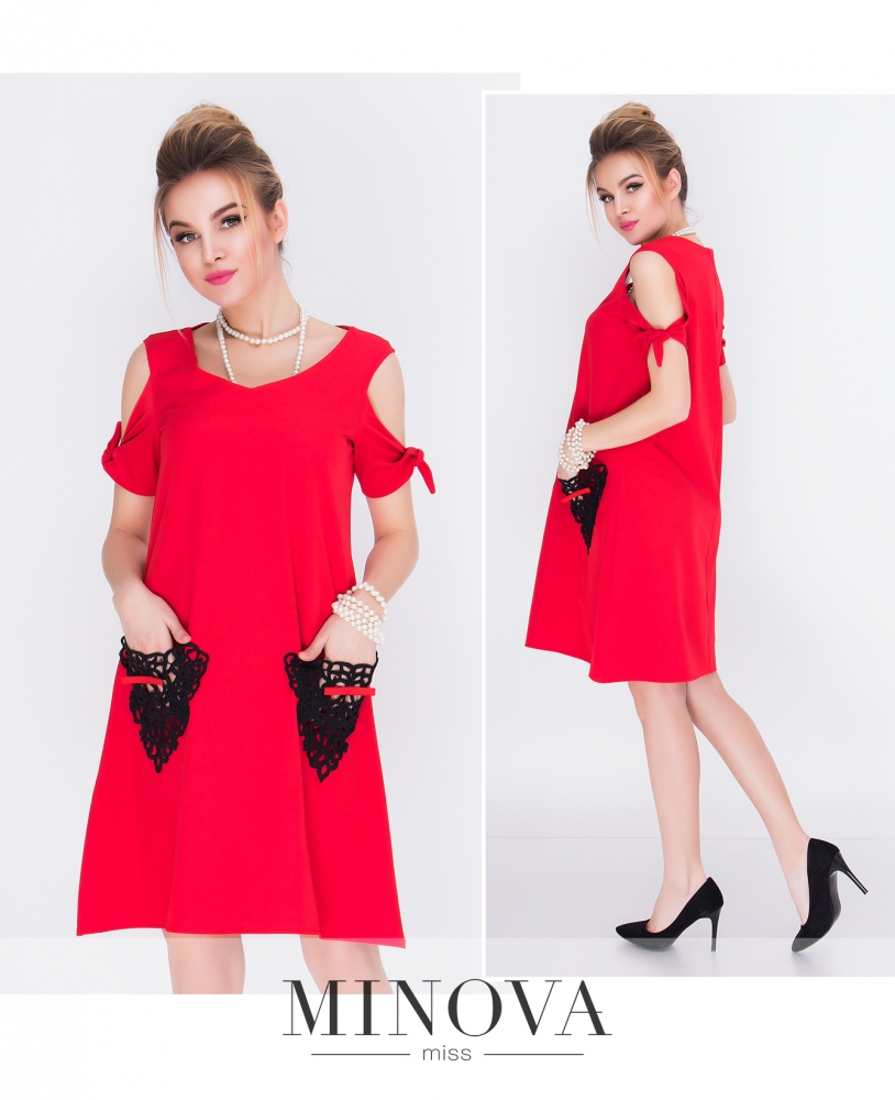 Платье №1210Н-красный (sale)