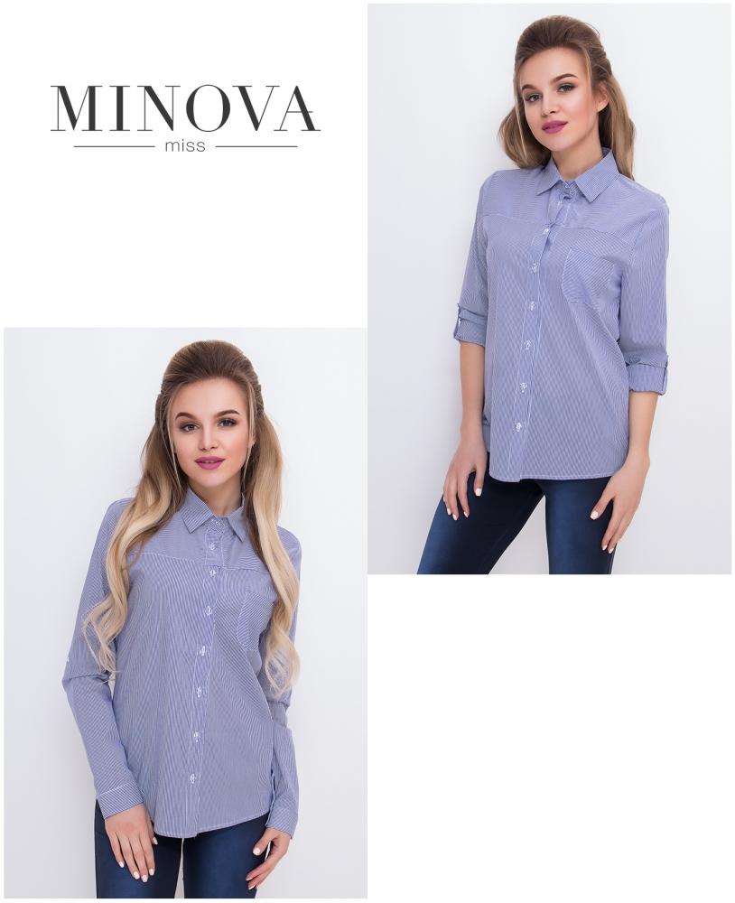 Рубашка №1028-синий