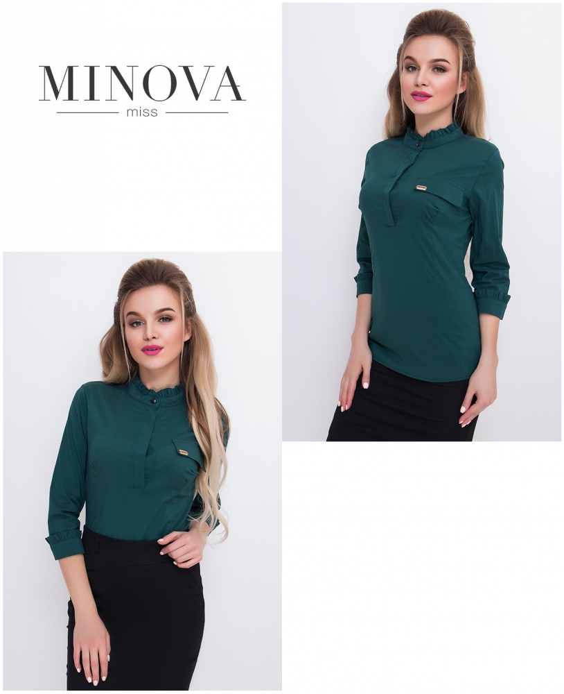 Блуза №1043-темно-зеленый