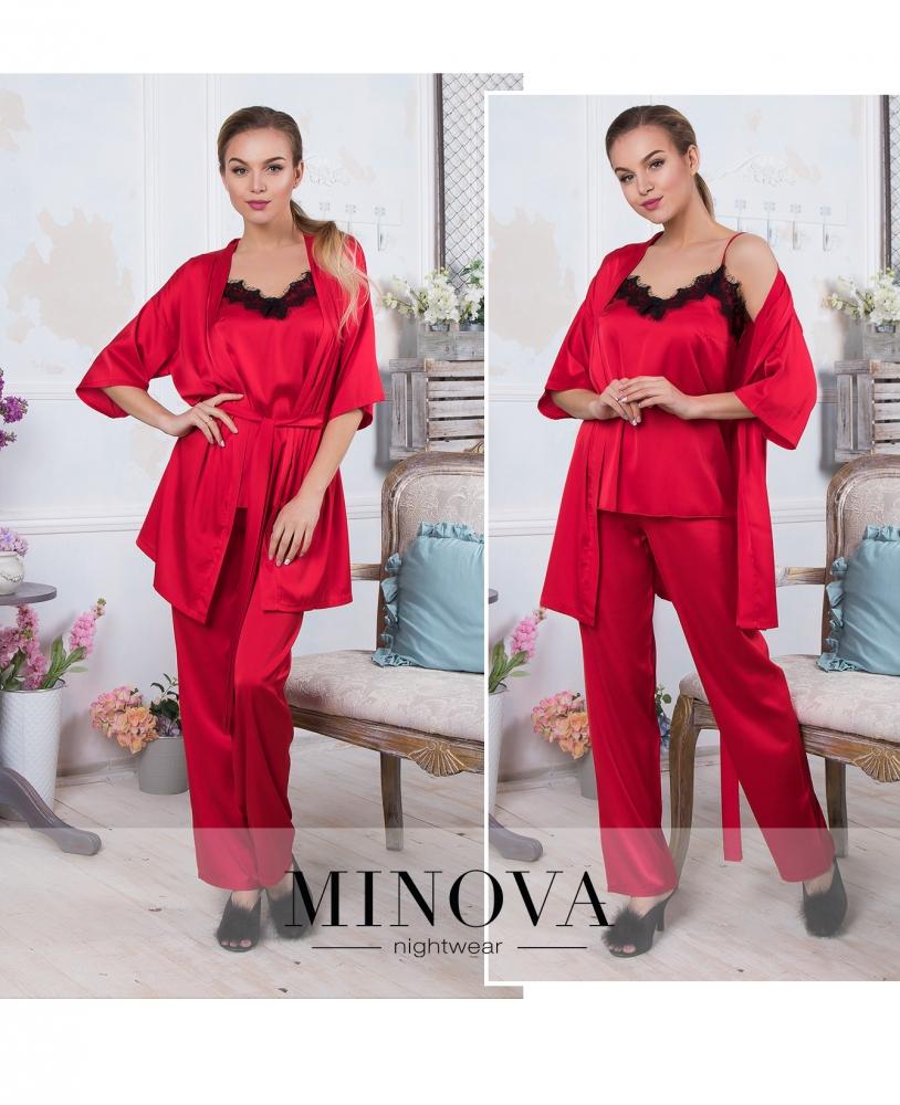 Пижамный комплект 3-ка №932-красный
