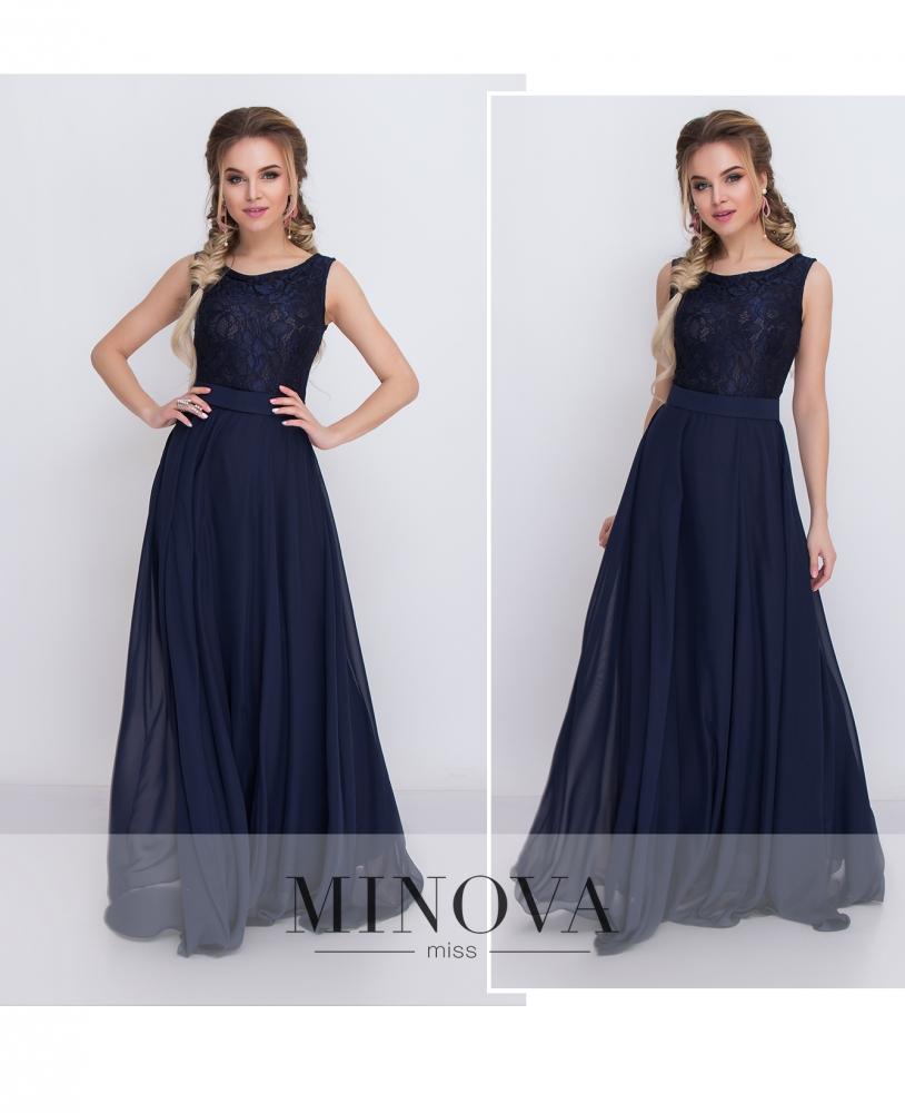 Платье №3096-темно-синий (sale)