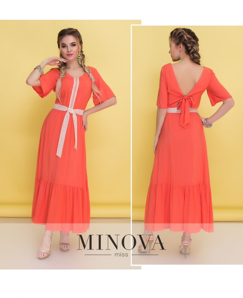 Платье №1350-оранжевый
