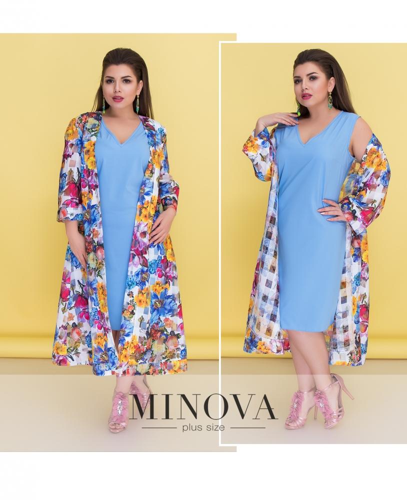 Комплект (платье+накидка) №526-голубой
