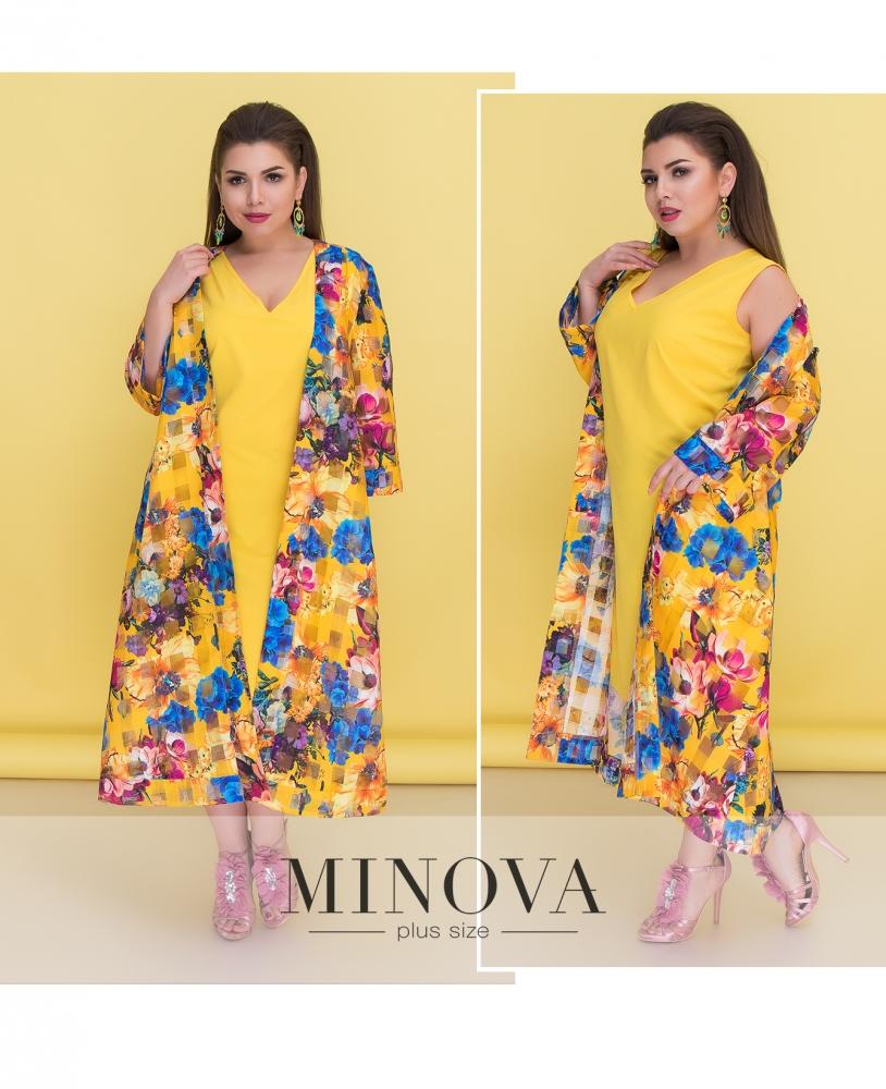 Комплект (платье+накидка) №526-желтый
