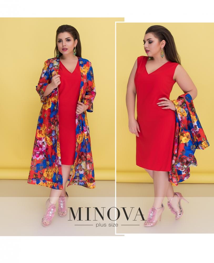Комплект (платье+накидка) №526-красный