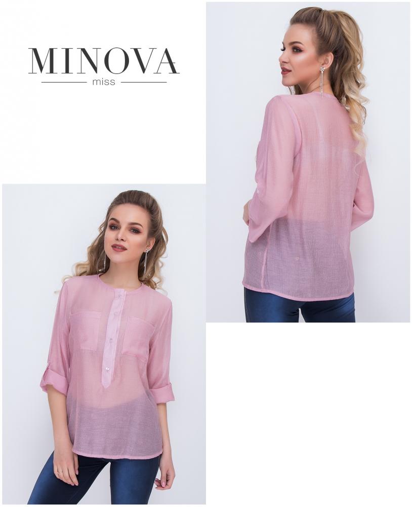 Рубашка №1039-пудровый
