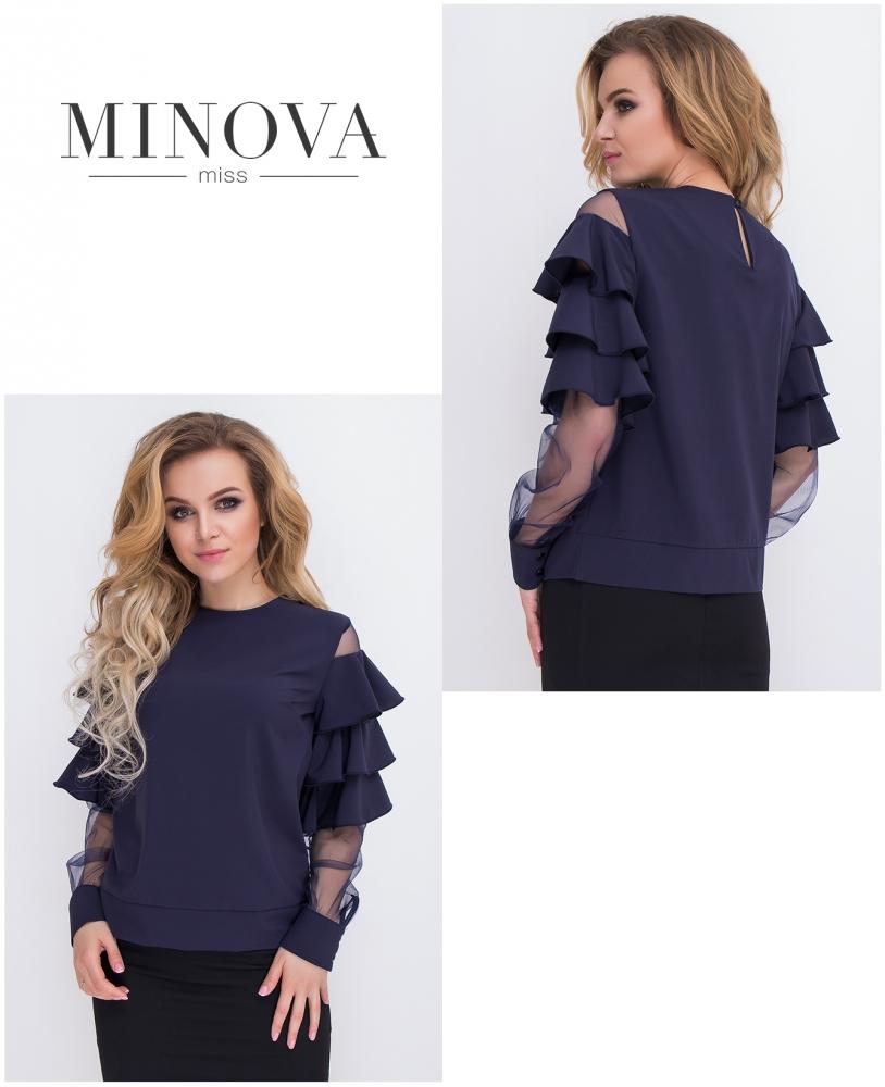 Блуза №8579-темно-синий