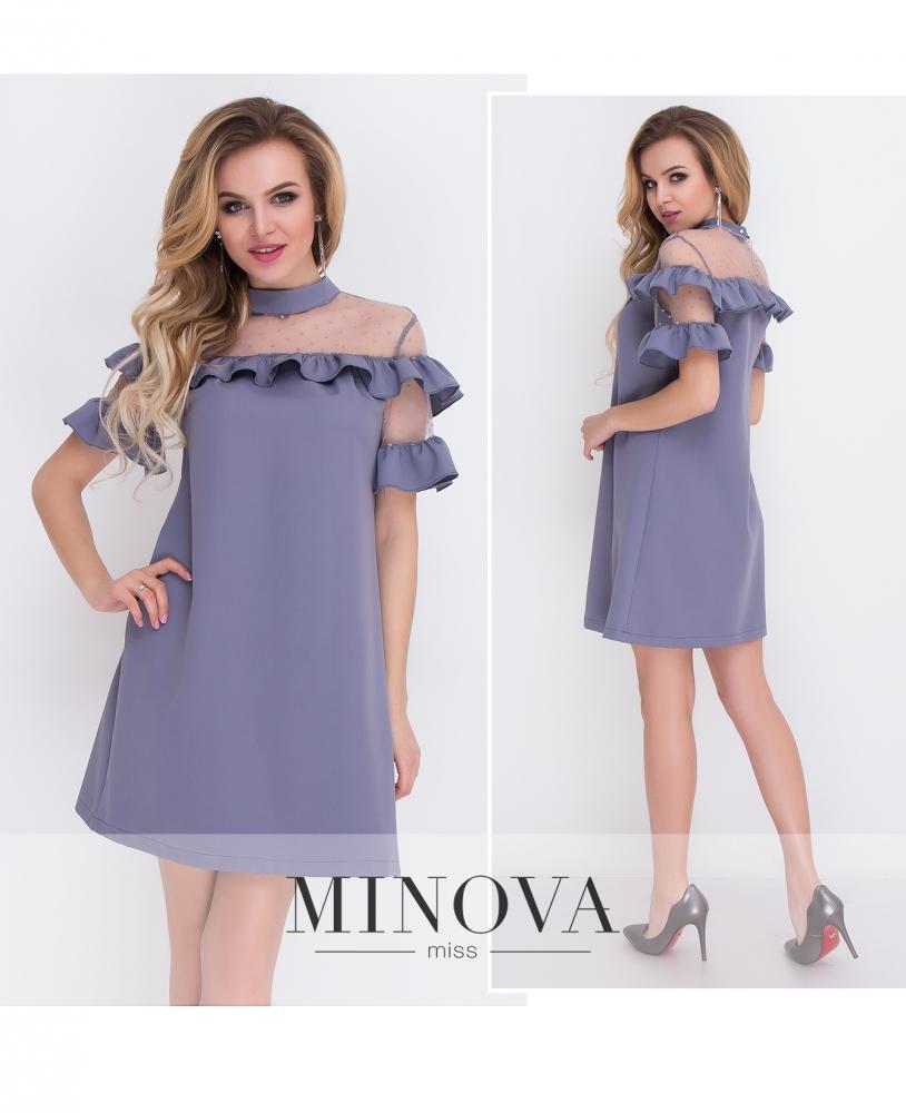 Платье №8577-серо-синий