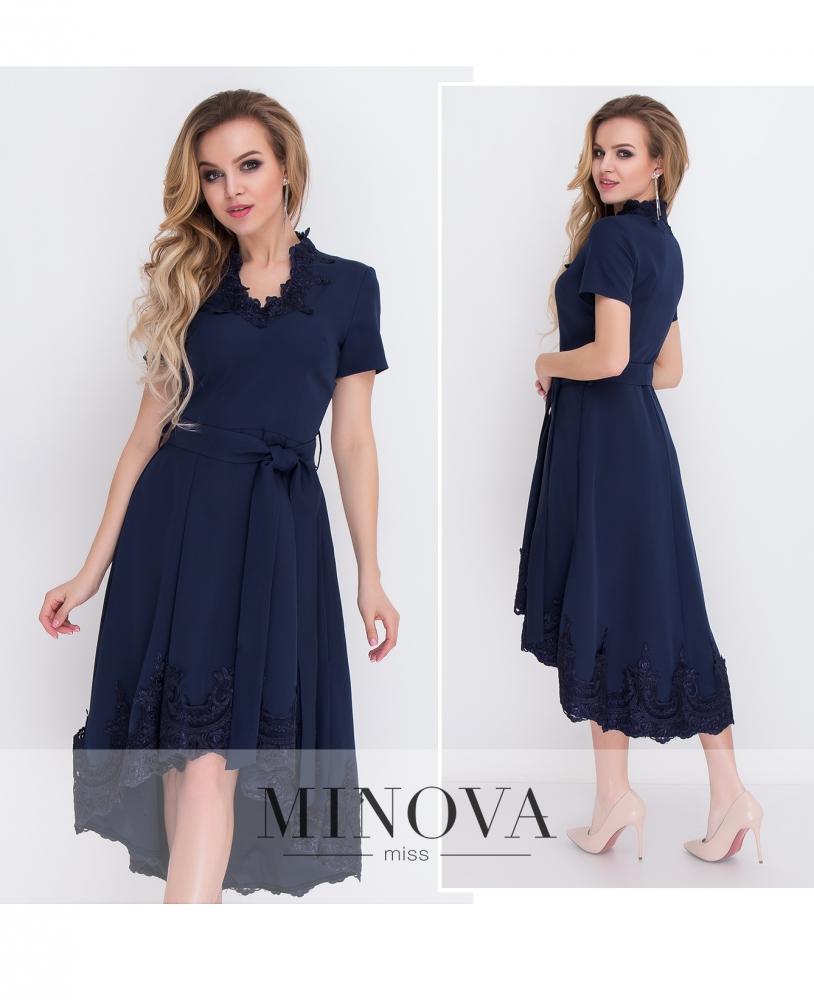 Платье №8575-темно-синий