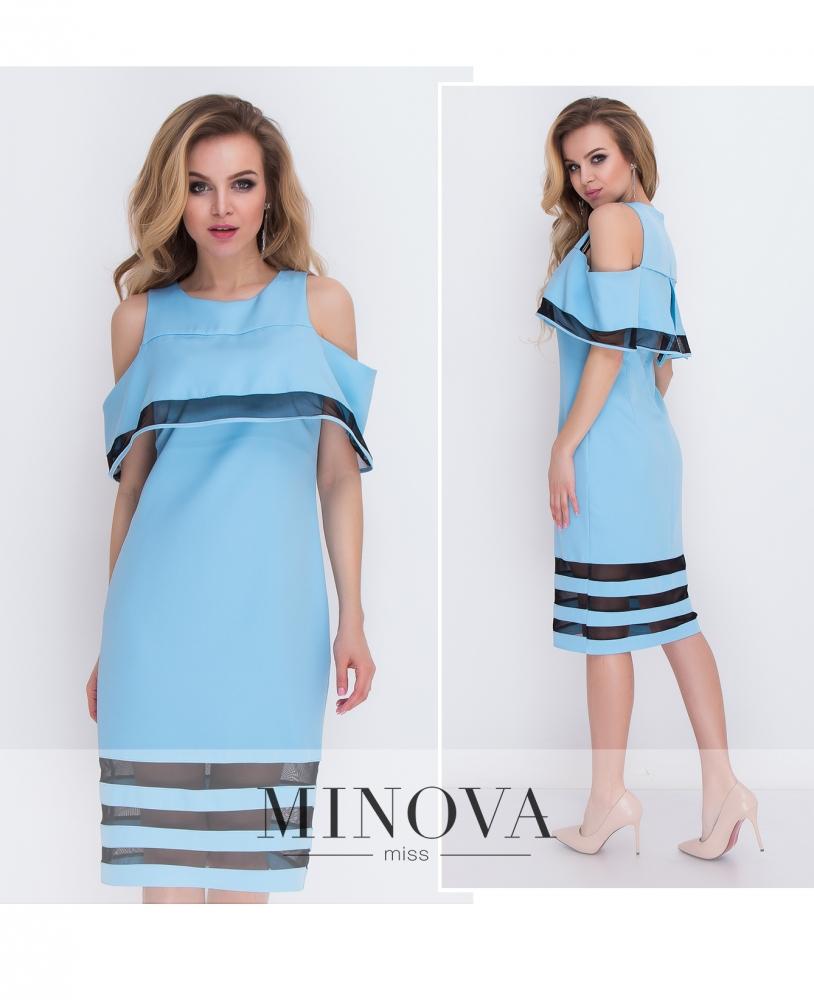 Платье №8576-голубой