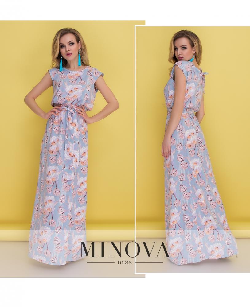 Платье №1371-голубой