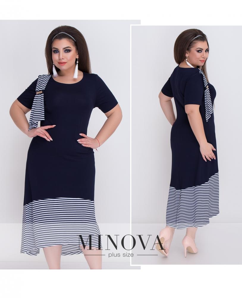 Платье №370-синий