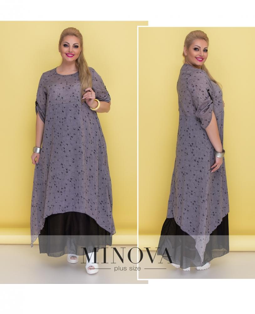 Платье №1373-серый