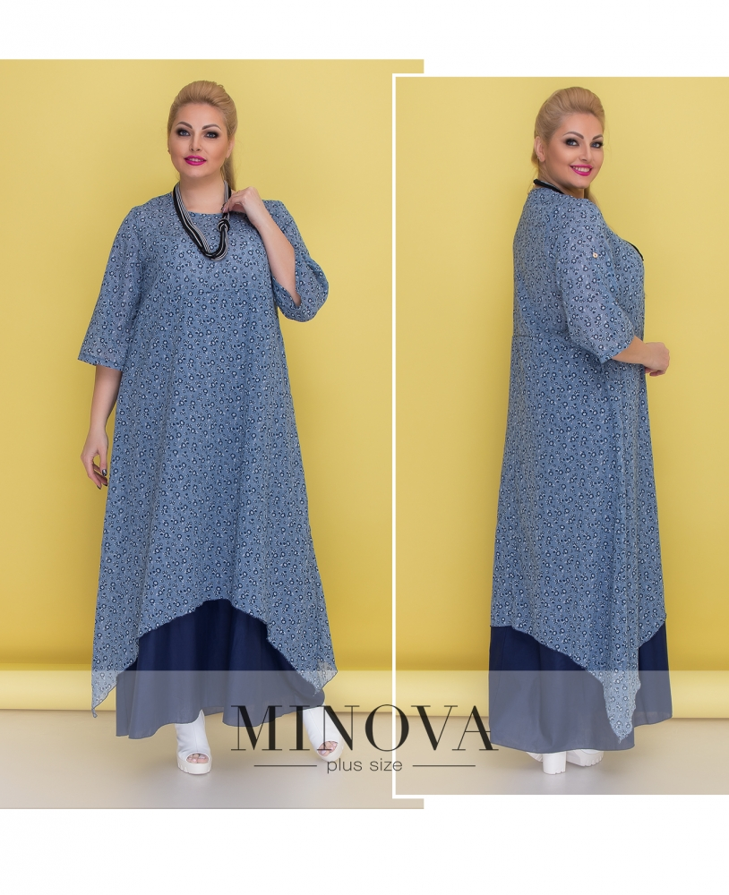 Платье №1372-синий