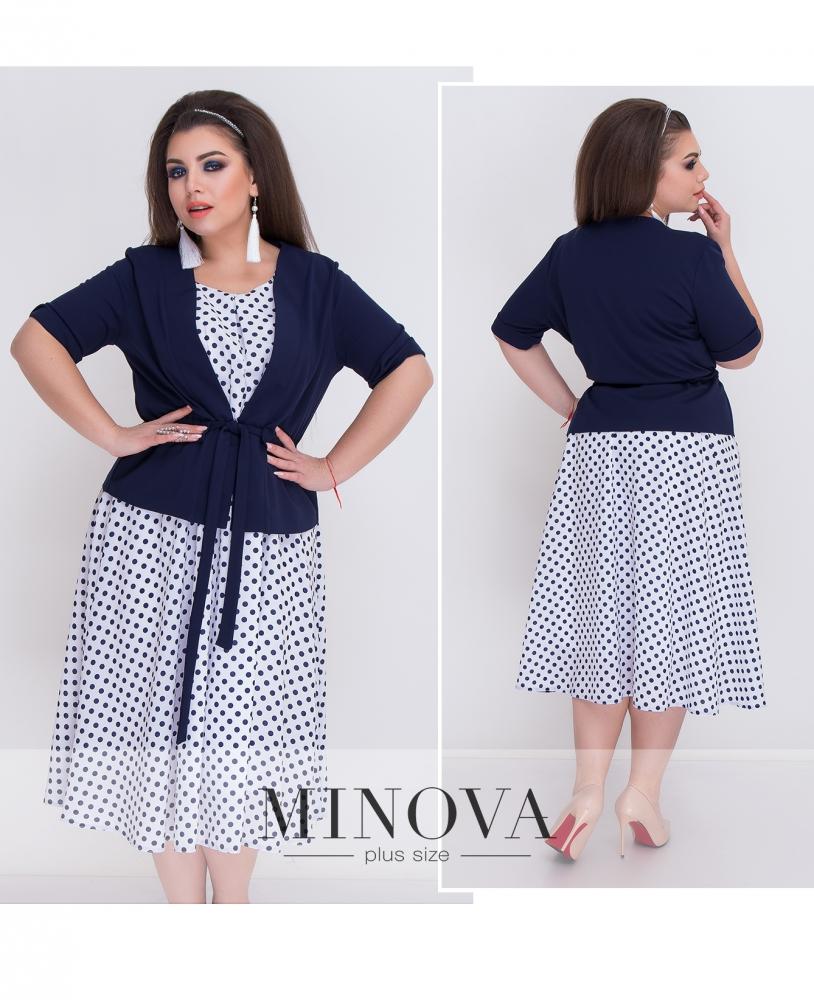 Комплект (Платье+пиджак) №052-синий