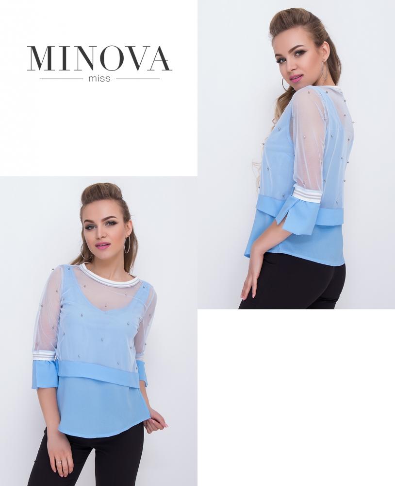 Блуза №1045-голубой (sale)