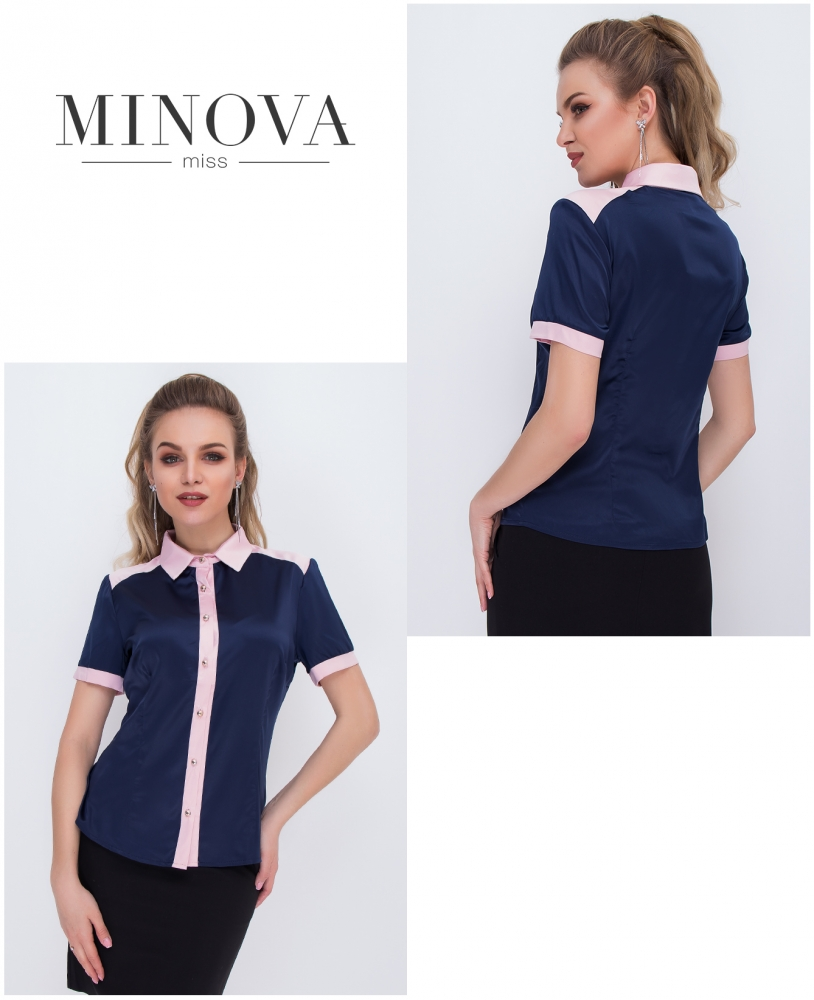 Блуза №1051-синий с розовым (sale)