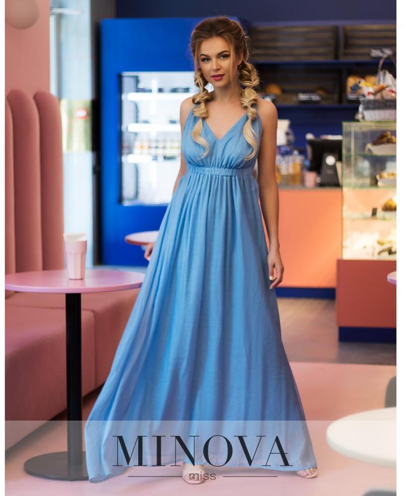 Платье №1045-голубой