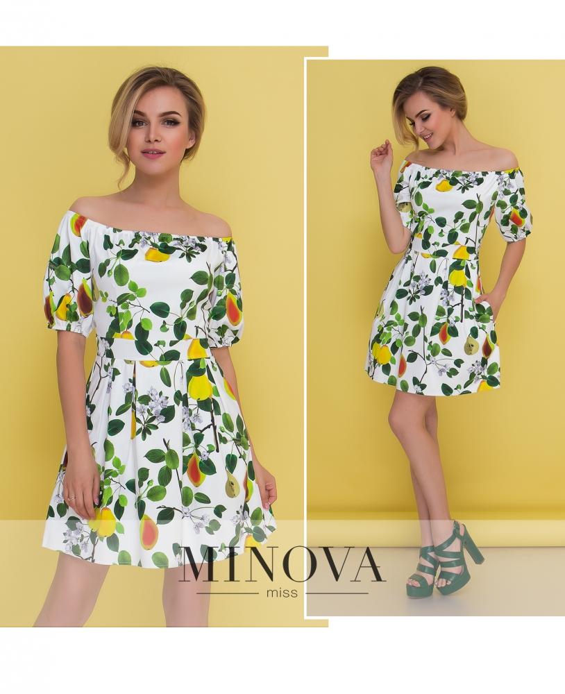 Платье №1037-зеленый принт (sale)