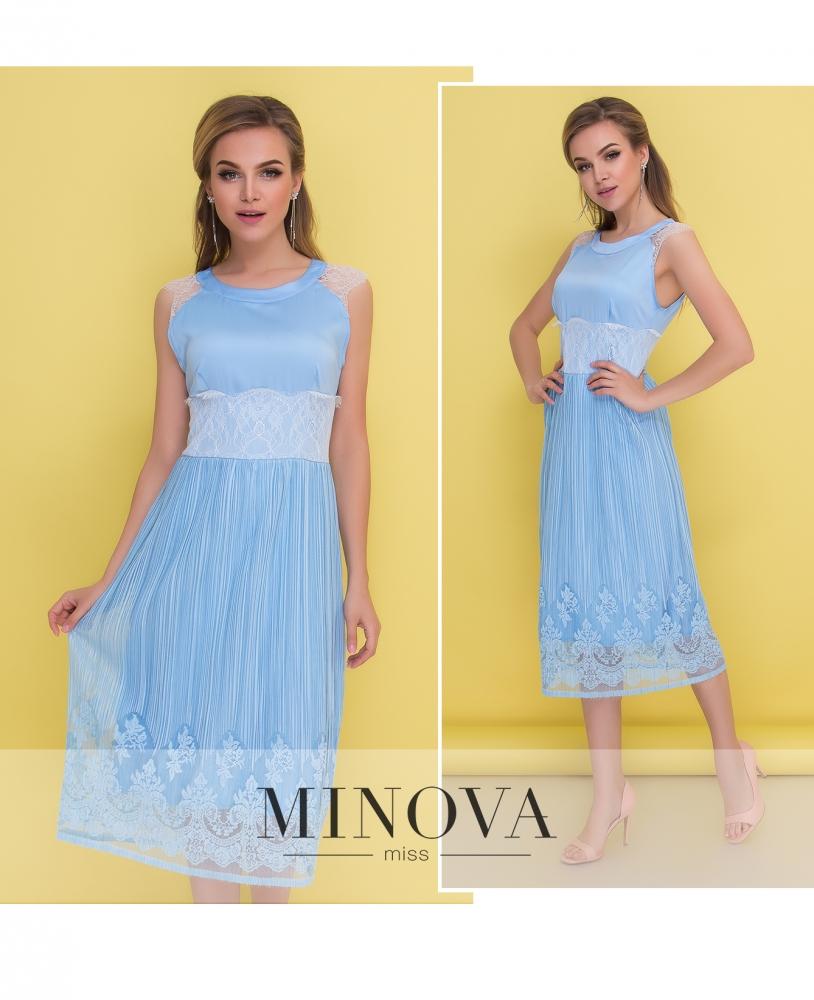 Платье №1046-голубой (sale)