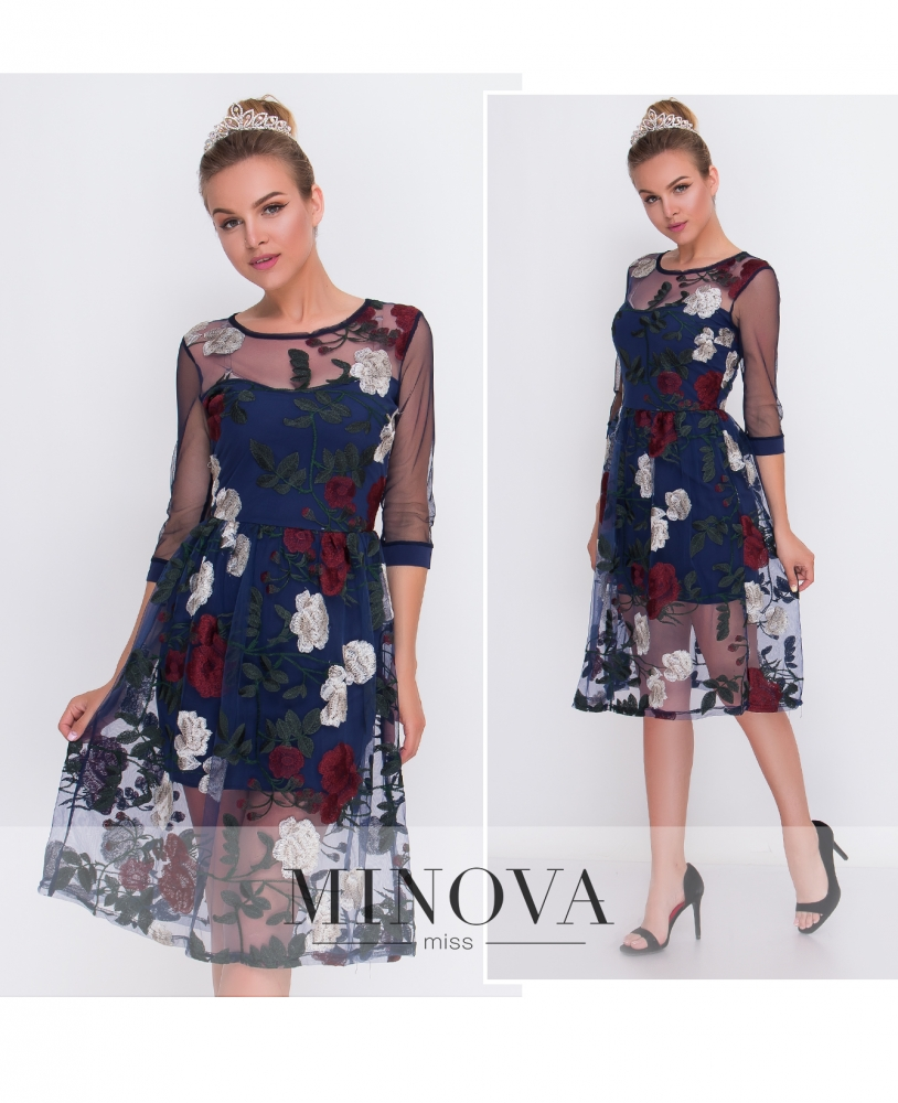 Платье №2102-синий