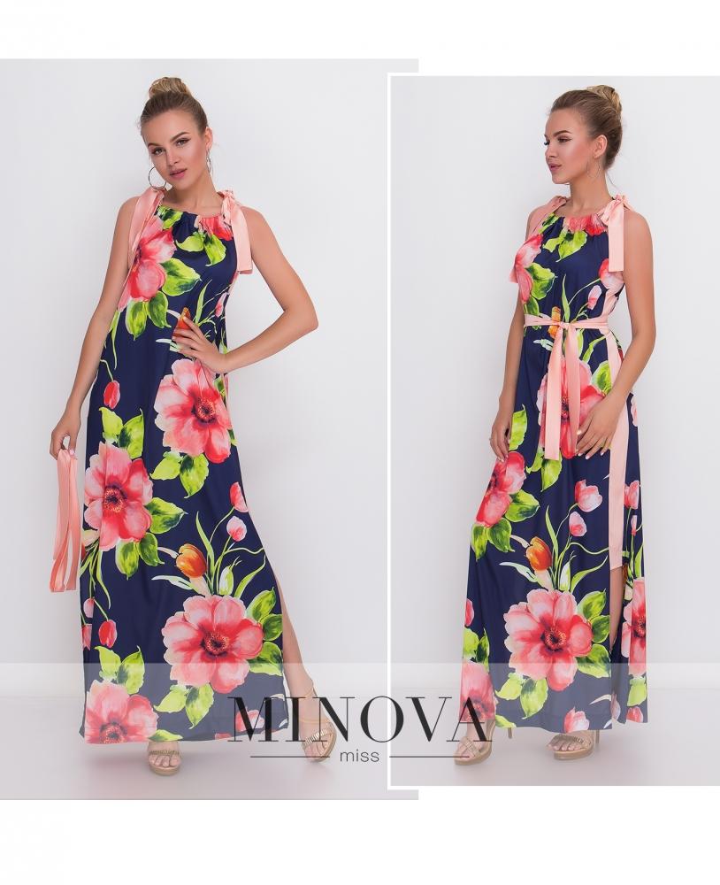Платье №1400-синий
