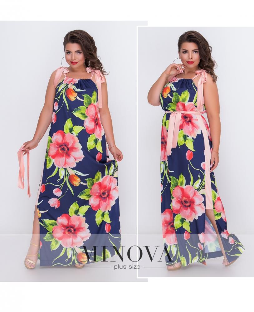 Платье №1410-синий