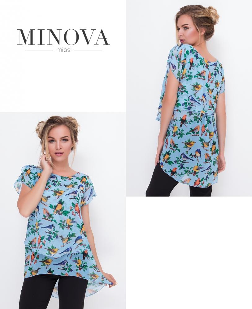 Блуза №444-голубой