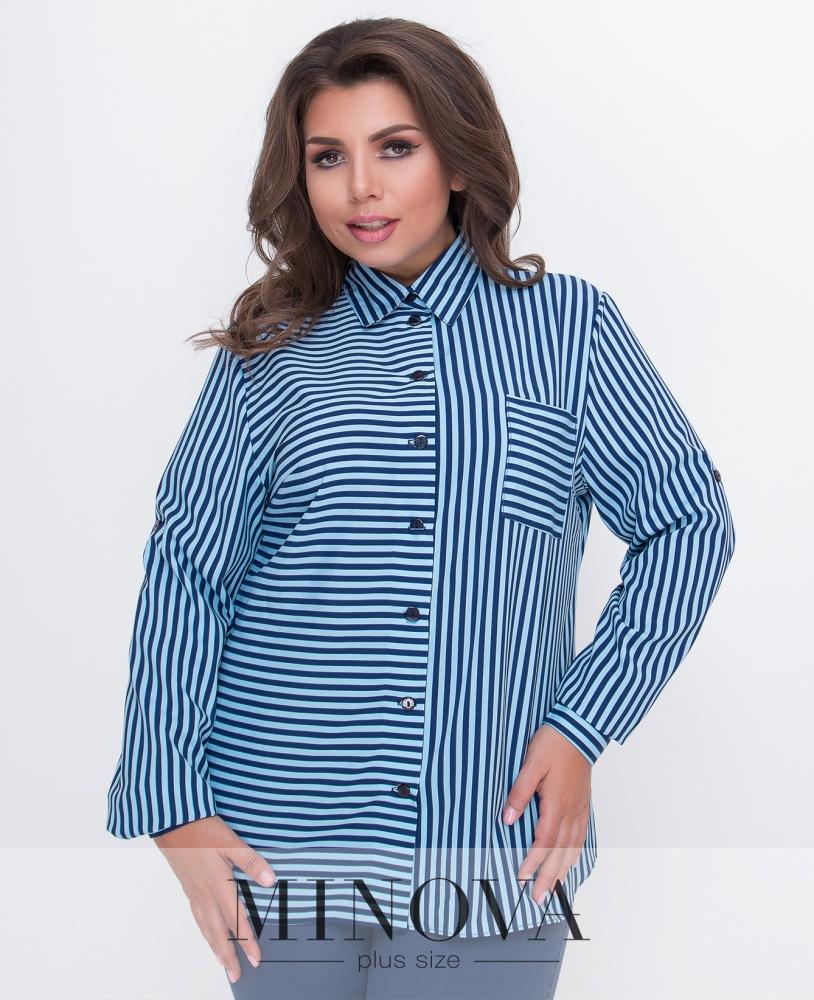 Рубашка №491-голубая полоска