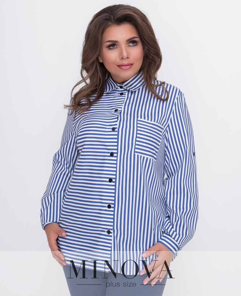 Рубашка №491-белая полоска