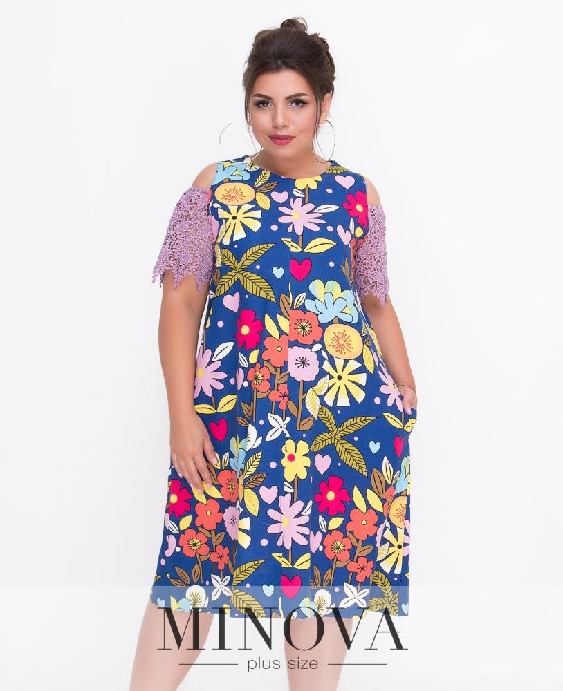 Платье №1435-синий