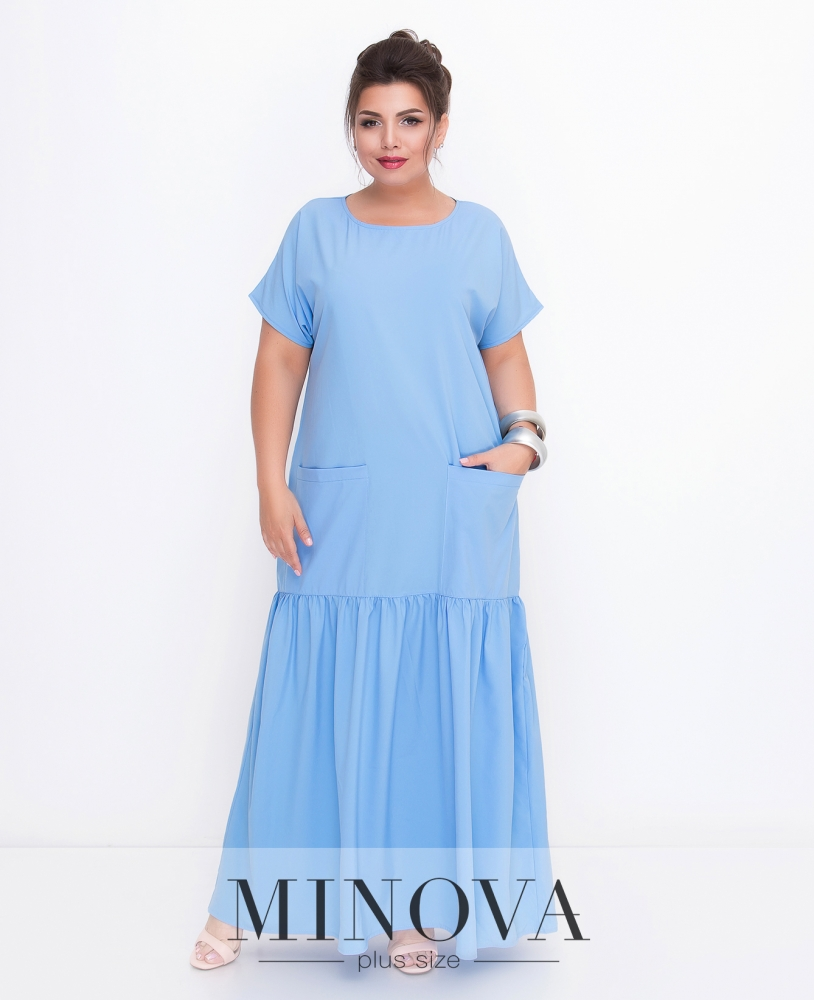 Платье №500-голубой
