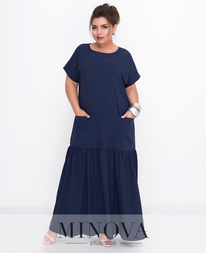 Платье №500-темно-синий
