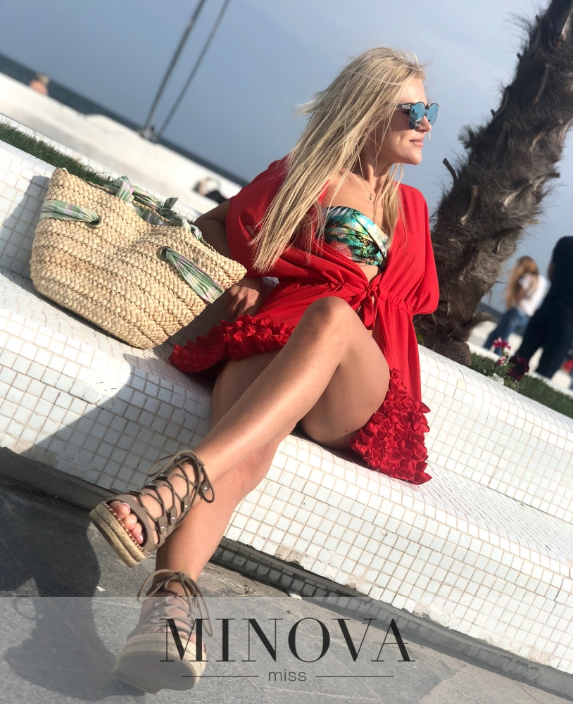 Пляжная накидка №1183-красный