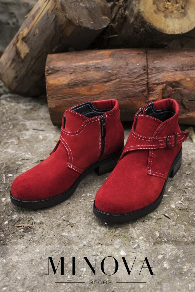 Ботинки №2206М-красный замш