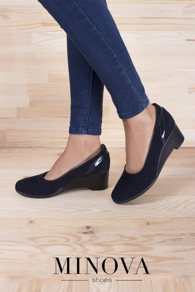 Туфли №532М-синий замш-лак
