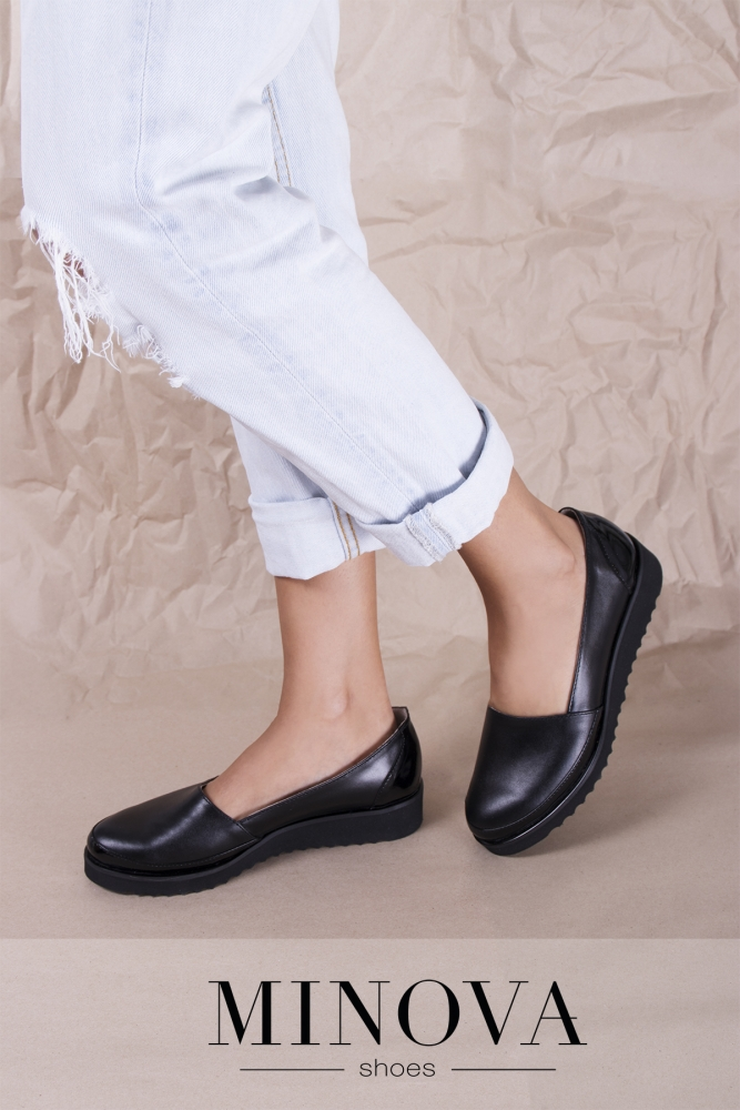 Туфли №201М-черная кожа-лак