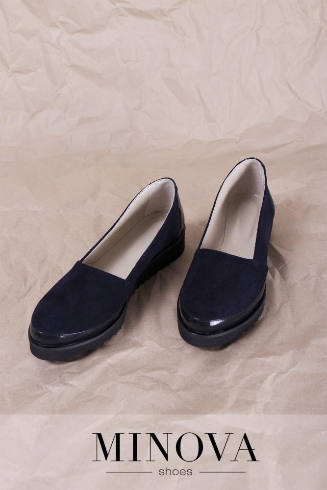 Туфли №201М-синий замш-лак