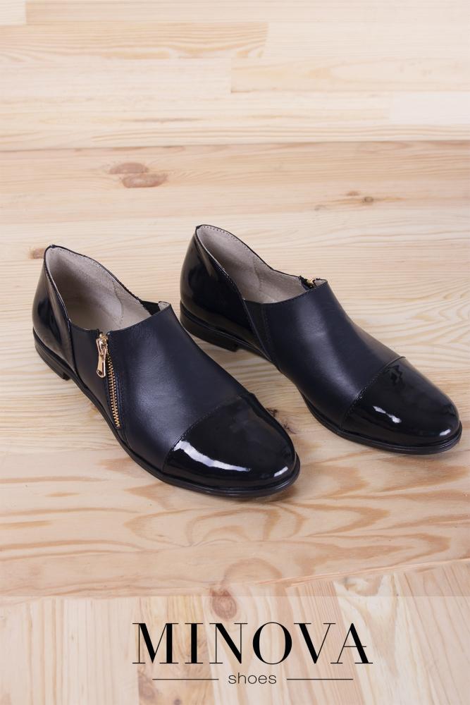 Туфли №188М-синяя кожа+лак