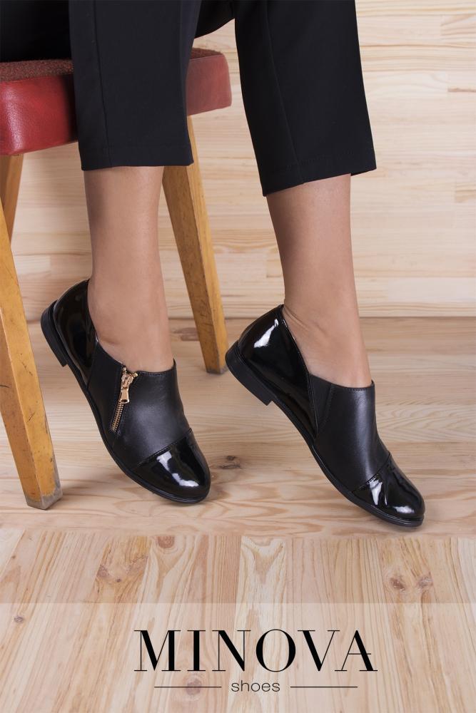 Туфли №188М-черная кожа+лак