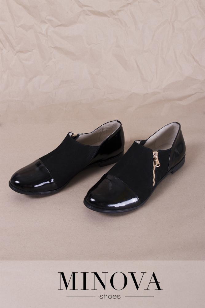 Туфли №188М-черный замш+лак