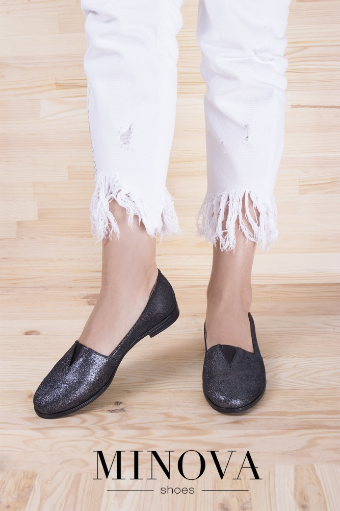 Туфли №1791М-серебро замш